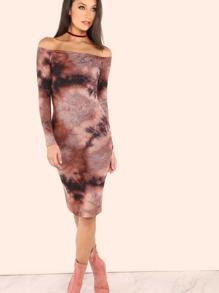 Off the Shoulder Tie Dye Midi Dress ROSE MULTI
