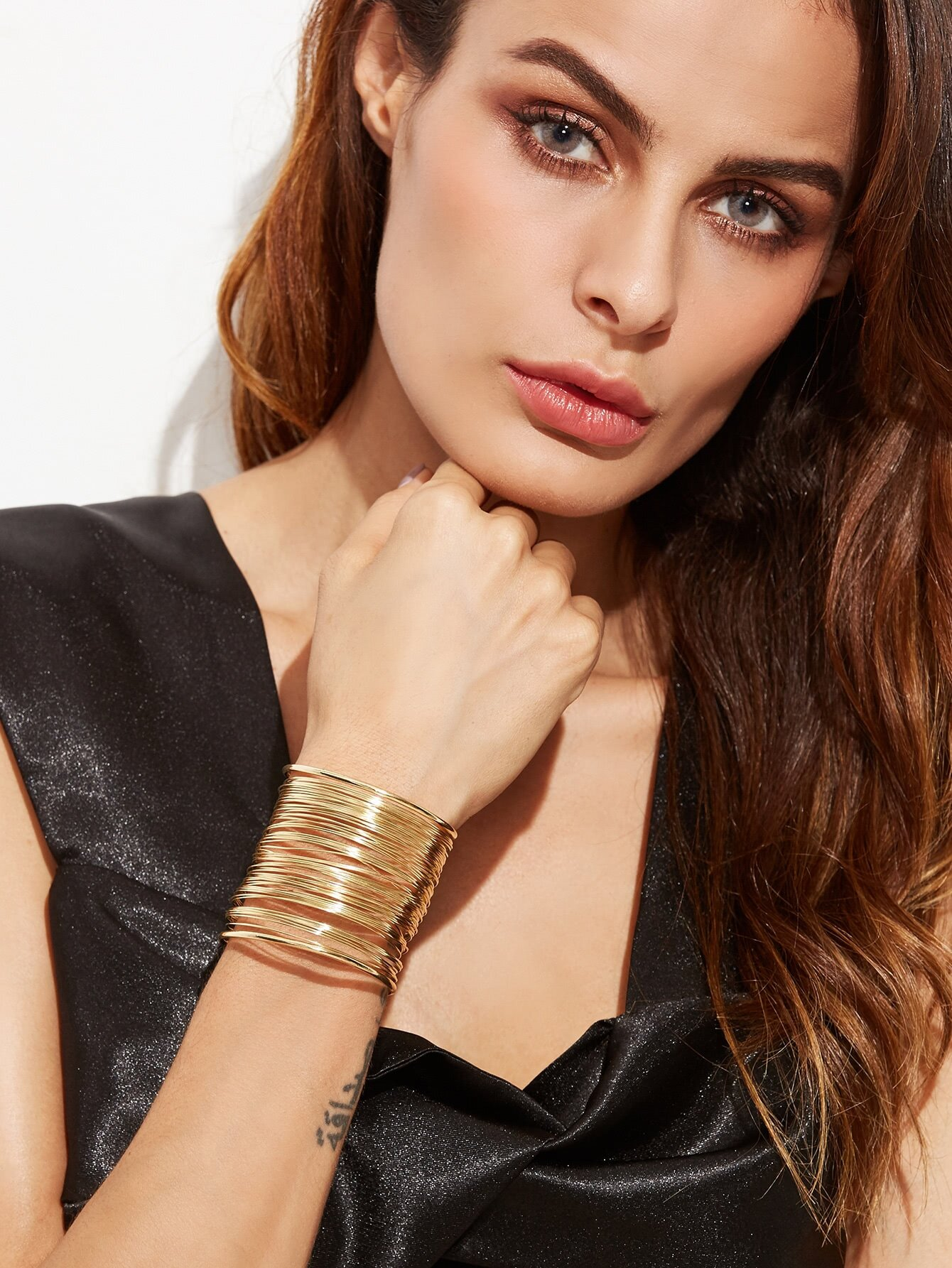 Gold Plated Multi Strand Statement Wrap Bangle
