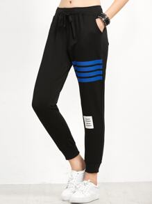 Black Striped Trim Beam Port Pants
