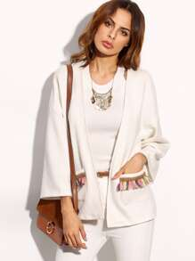 Beige Tassel Beading Pocket Three Quarter Sleeve Outerwear
