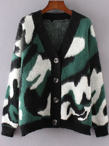 Green Camouflage Pattern Drop Shoulder Button Up Sweater Coat