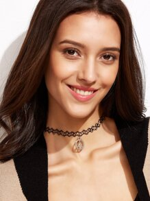 Black Peace Sign Elastic Choker Necklace