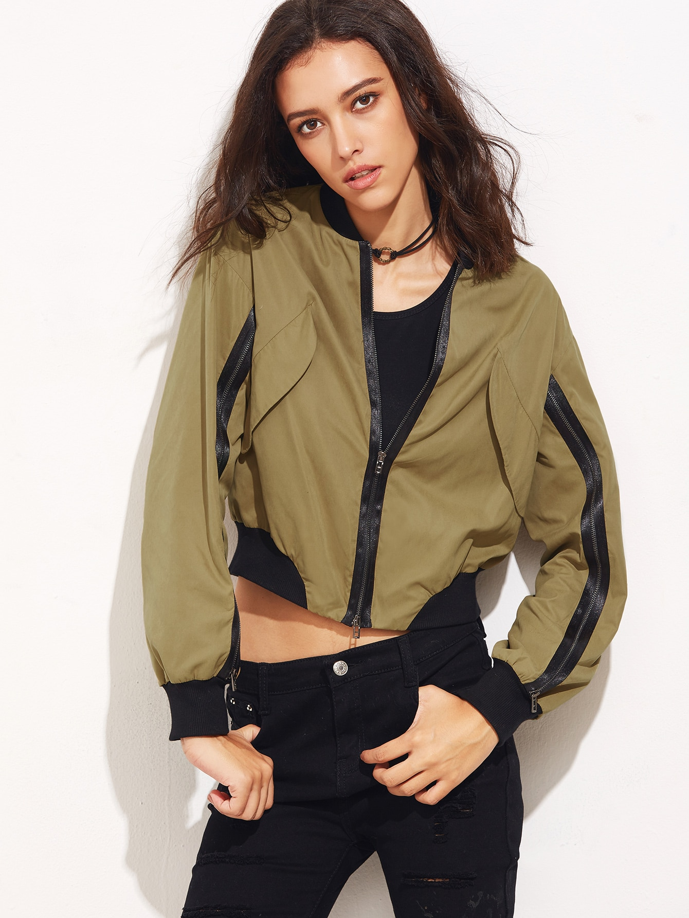Khaki Contrast Ribbed Trim Bomber Jacket With Zip Detail jacket160913701