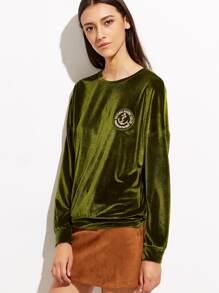 Green Drop Shoulder Velvet Sweatshirt With Embroidered Patch