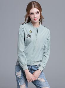 Pale Blue Embroidered Patch Epaulet Jacket
