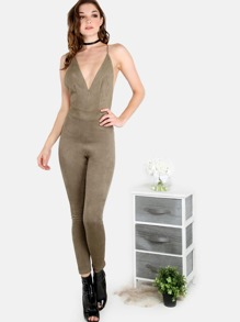 Plunging V Faux Suede Backless Crossover Jumpsuit OLIVE
