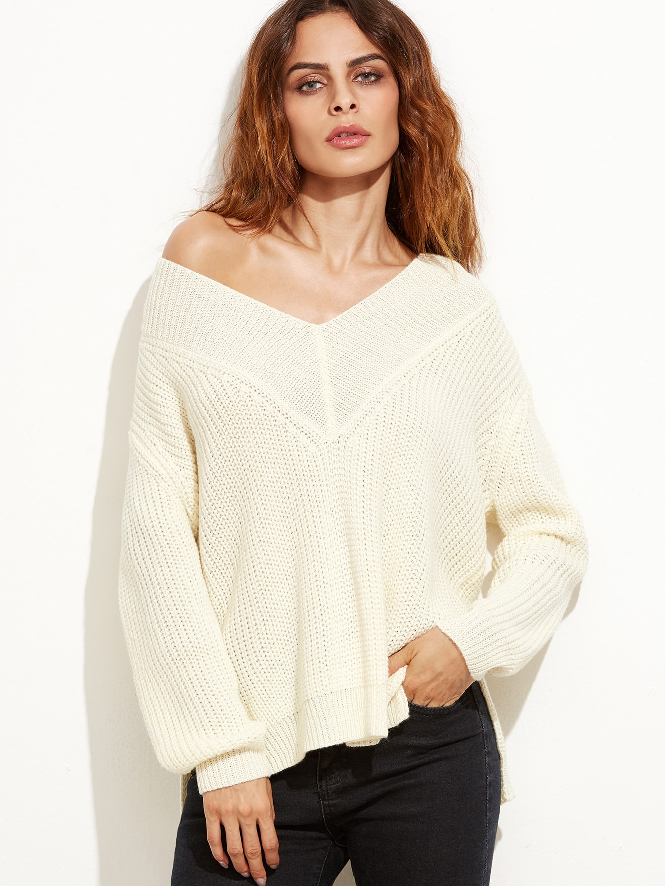 Apricot Ribbed Knit Slit High Low Sweater sweater160928453