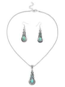 Silver Plated Turquoise Tribal Pendant Jewelry Set