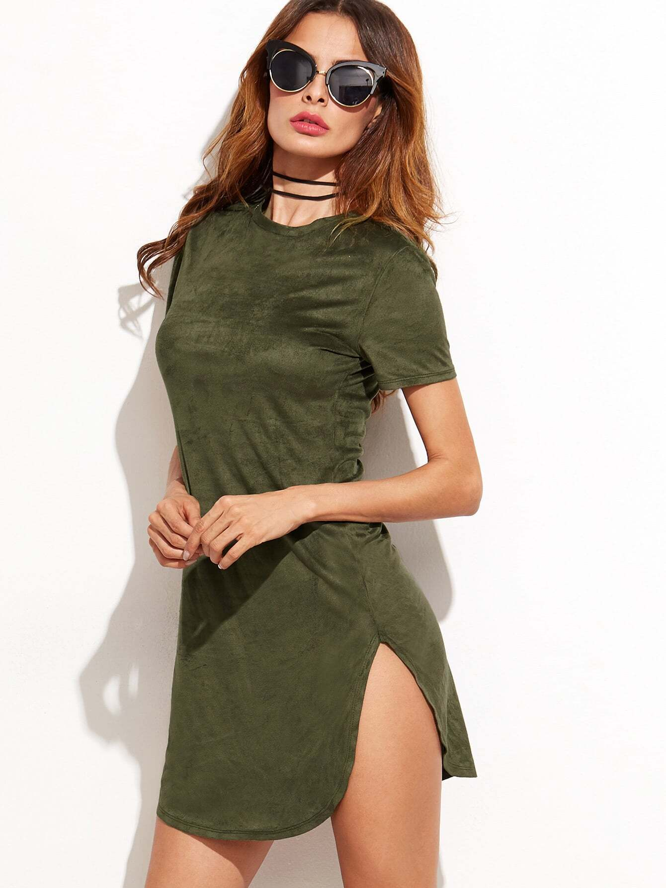 Army Green Slit Side Tee DressArmy Green Slit Side Tee Dress<br><br>color: Green<br>size: L,M,S,XS