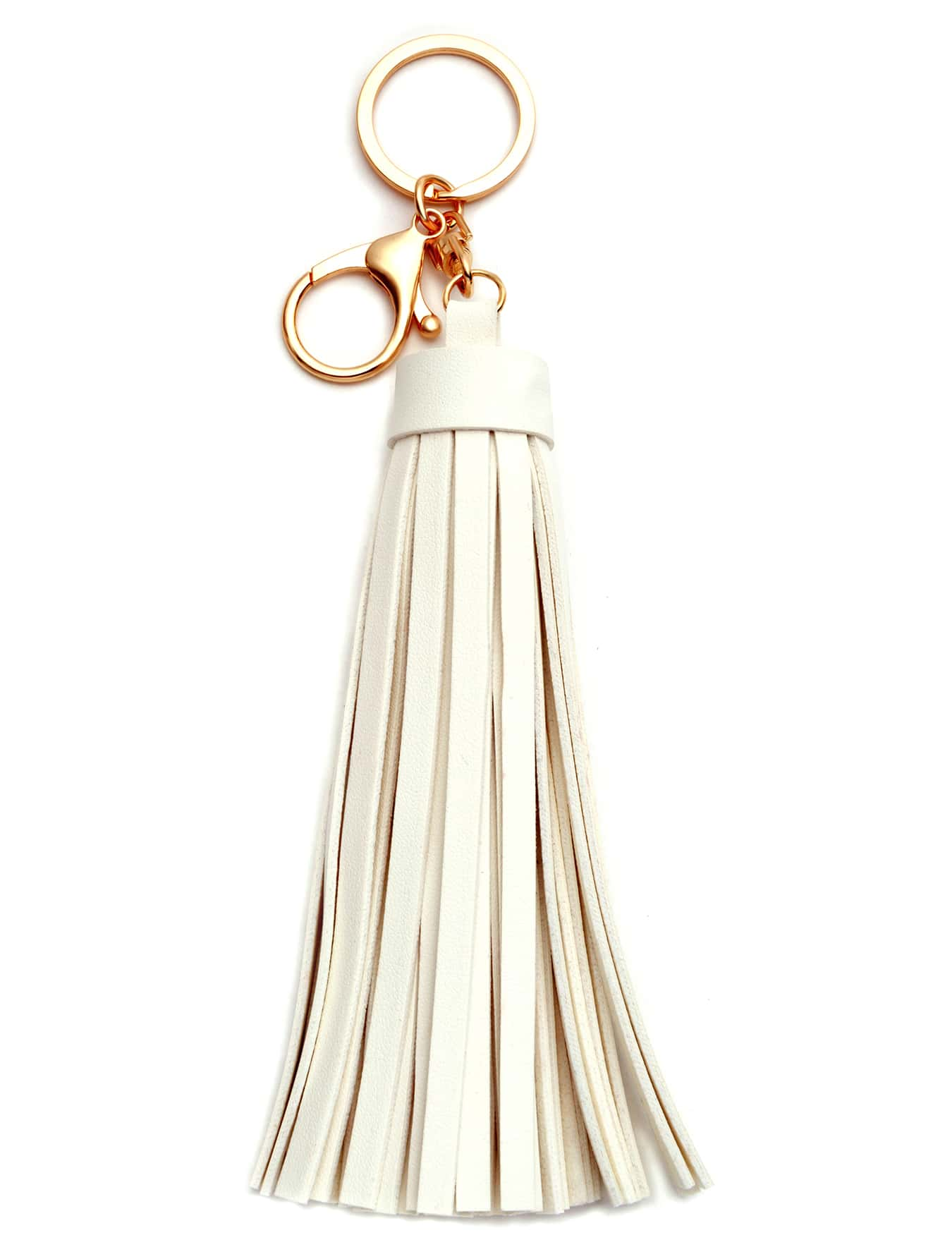 Buy White Faux Leather Tassel Keychain