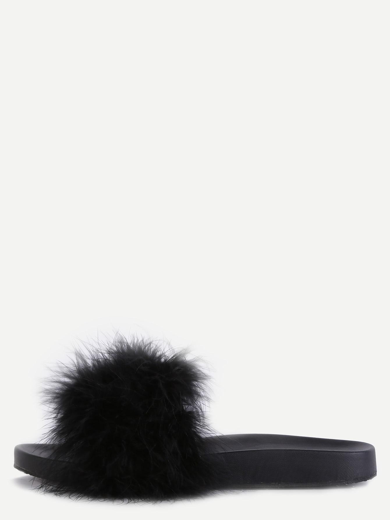 Black Faux Leather Rubber Peep Toe Flip Flops Fur Lined Casual Cute Sandals.