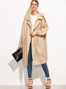 Pale Khaki Zipper Pockets Coat