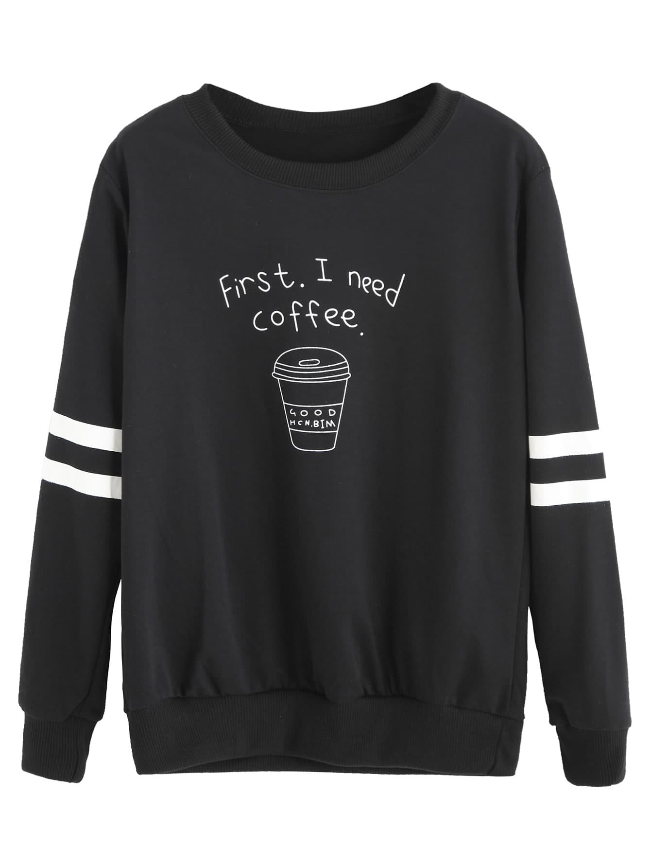 Black Coffee Cup Letters Print Striped Sweatshirt sweatshirt160907126