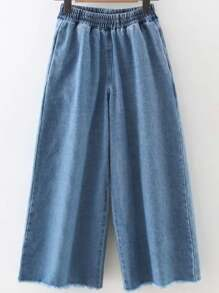 Pantalones de denim con pernera ancha - azul