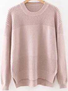 Jersey asimétrico hueco con abertura lateral - rosa
