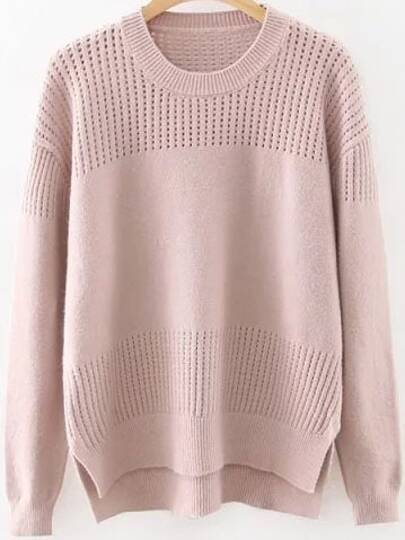 Pink Hollow Out Side Slit Dip Hem Sweater