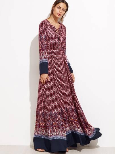 Vestido maxi con estampado de cachemir - borgoña