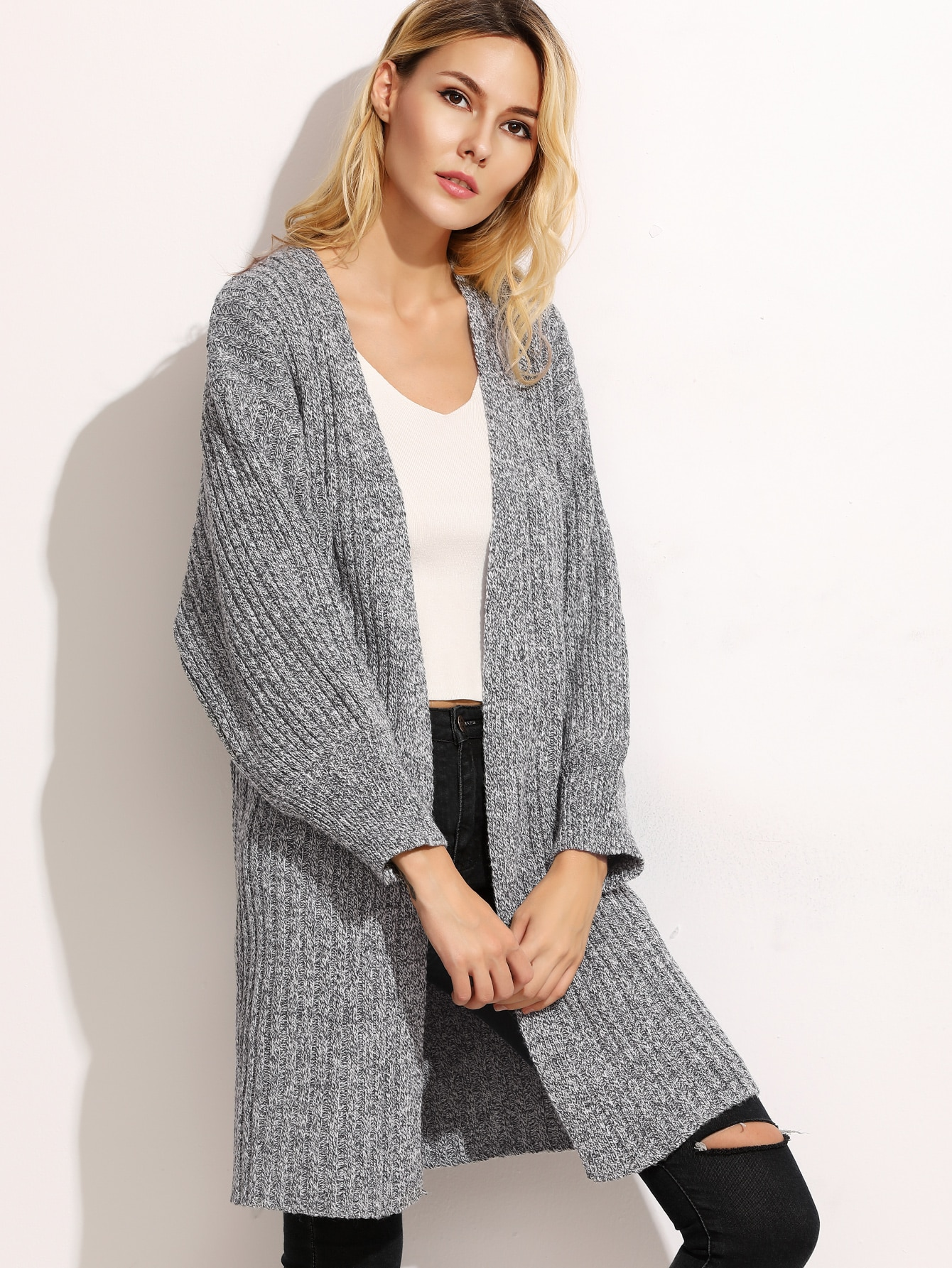 Heather Grey Drop Shoulder Ribbed Cardigan sweater160922003