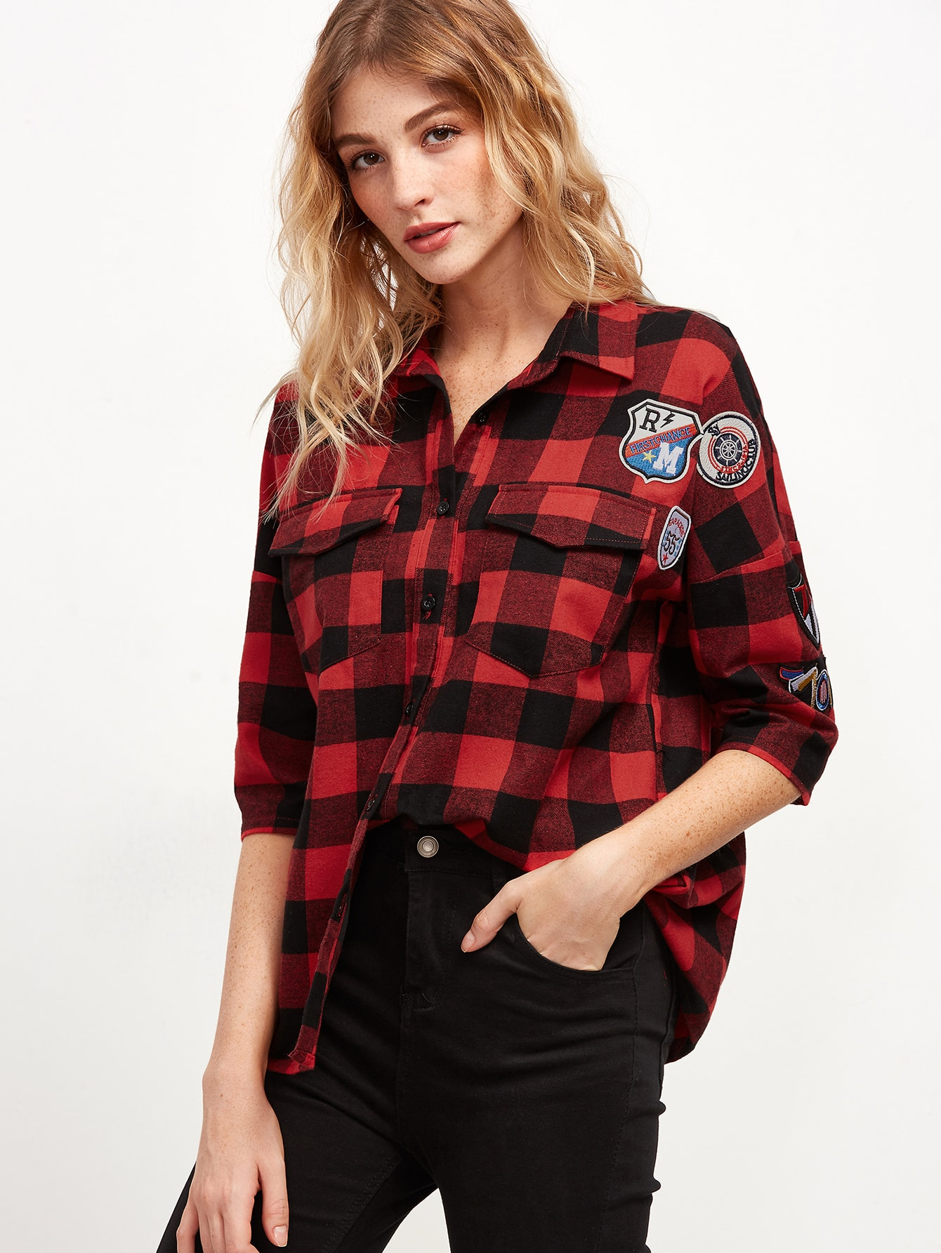 Red Checkered Equipment Blouse With Patch blouse160929702