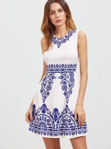 Blue And White Porcelain Print A Line Dress