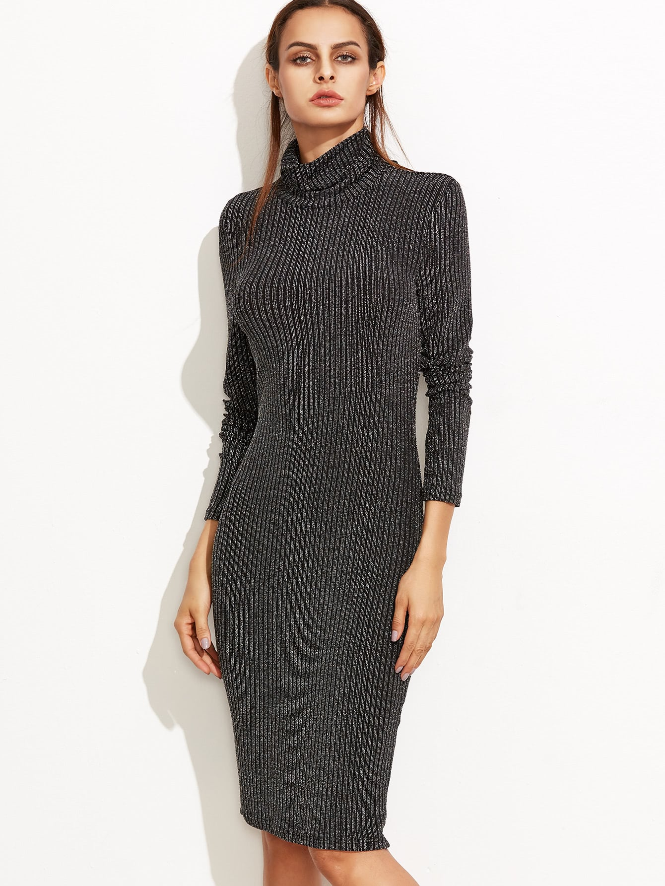 Black Marled Knit Cowl Neck Ribbed Pencil Dress dress161005706