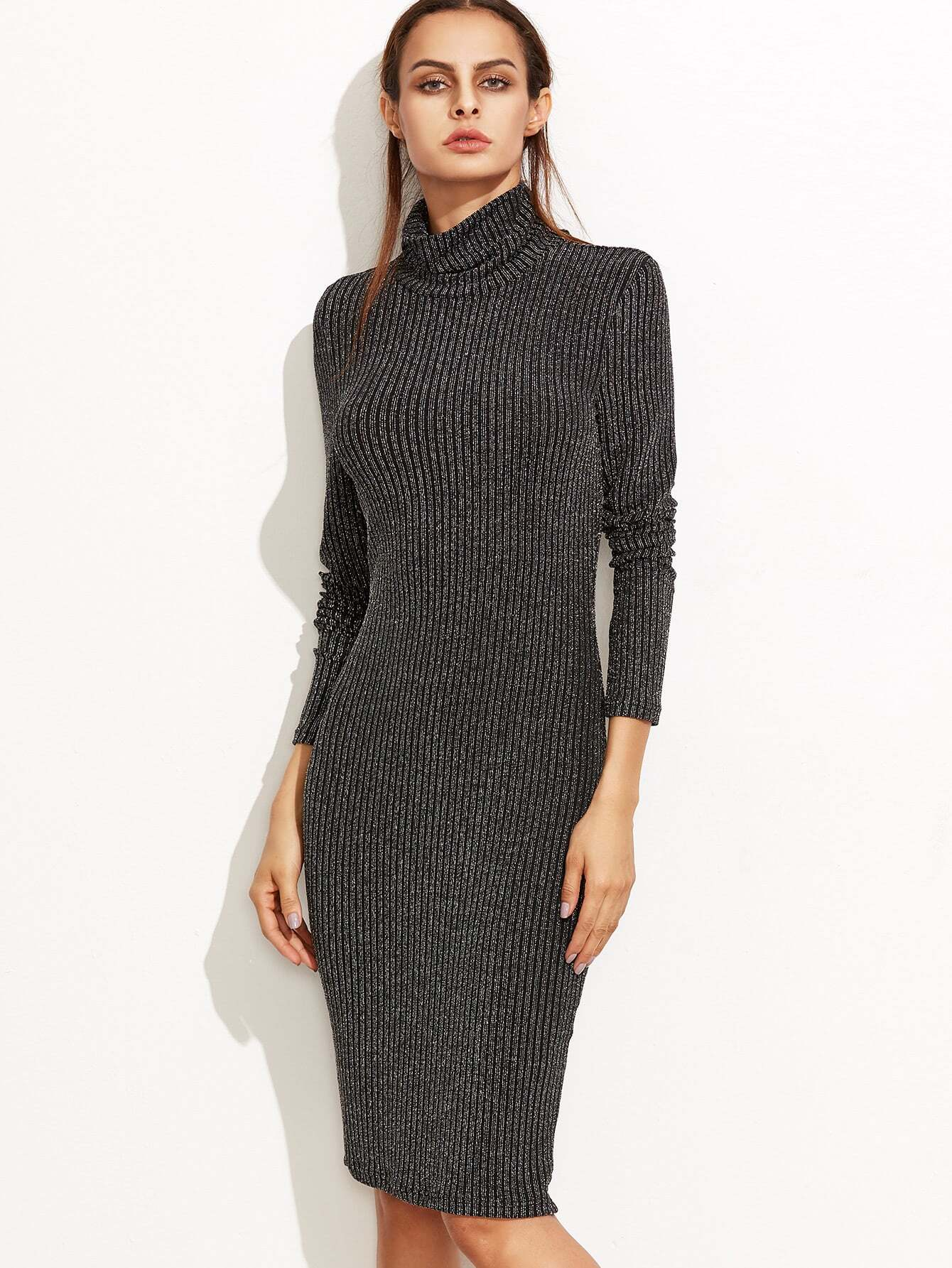 Marled Knit Cowl Neck Ribbed Pencil Dress dress161005706