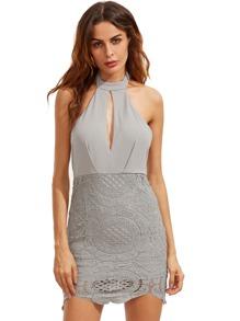 Halter Neck Contrast Lace Backless Dress