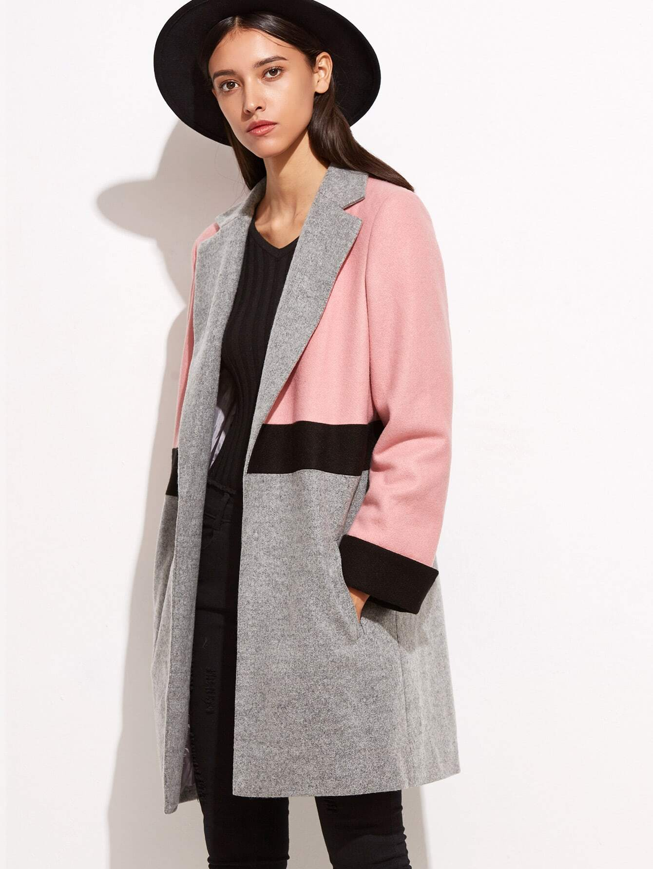 Color Block Notch Collar Open Front Coat