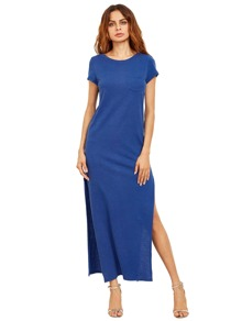 Royal Blue Short Sleeve Pocket Split Dress