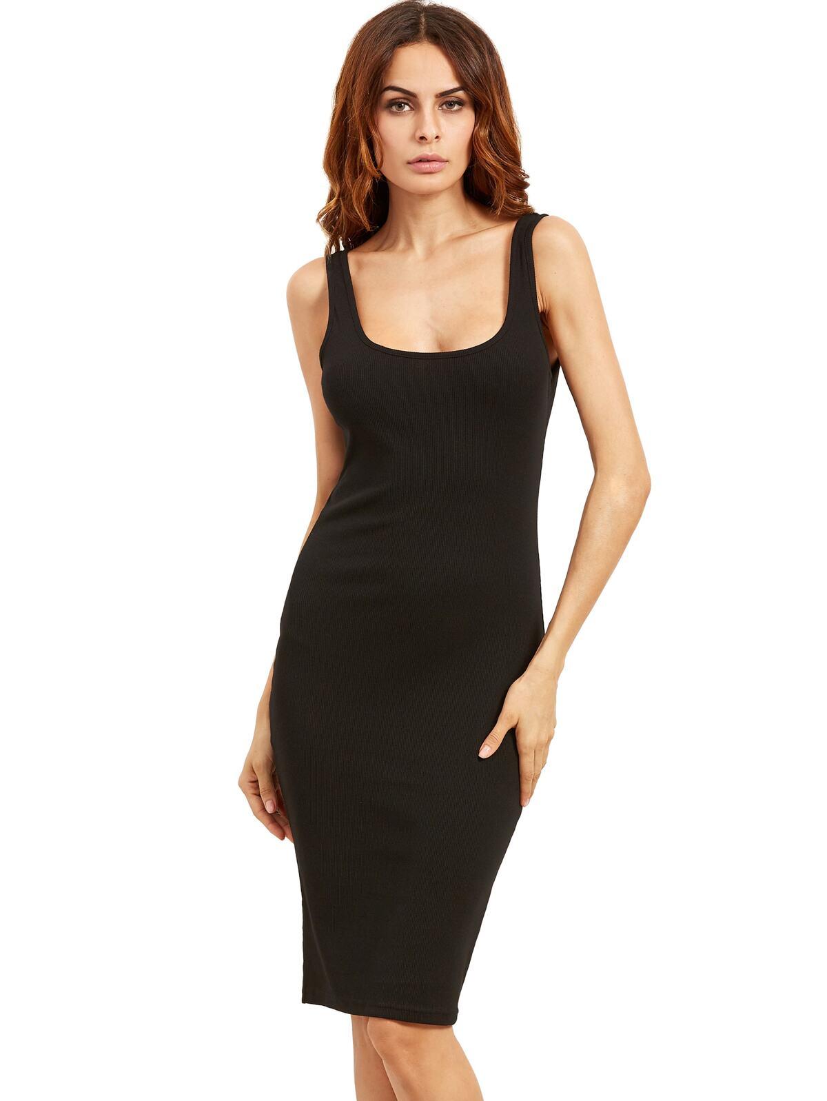 Black Sleeveless U Neck Bodycon Dress