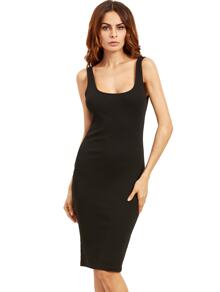 Double Scoop Ribbed Dress ROMWE
