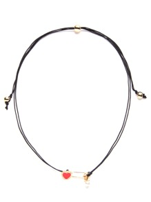 Black Double Strand Heart Choker Necklace