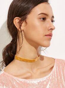 Orange Velvet Slim Choker Necklace