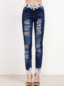 Blue Bleach Wash Ripped Appliques Jeans