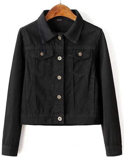 Black Button Up Jacket With Pockets