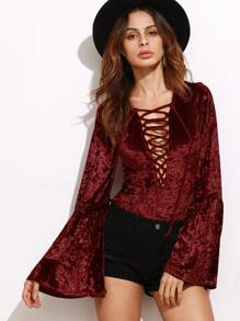 Plunging Lace-Up Fluted Sleeve Crushed Velvet Bodysuit