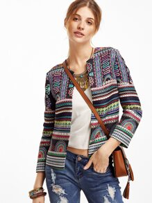 Multicolor Tribal Print Collarless Blazer