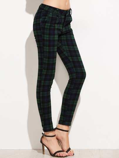 Tartan Plaid Skinny Pants -SheIn(Sheinside)