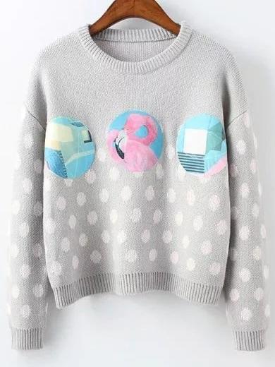Grey Polka Dot Ribbed Trim Patch Sweater sweater161006216