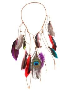 Accesorios de pelo trenzados con pluma y flecos con abalorios