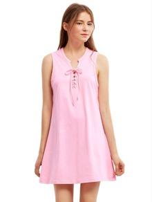 Pink Sleeveless Lace Up Vest Dress