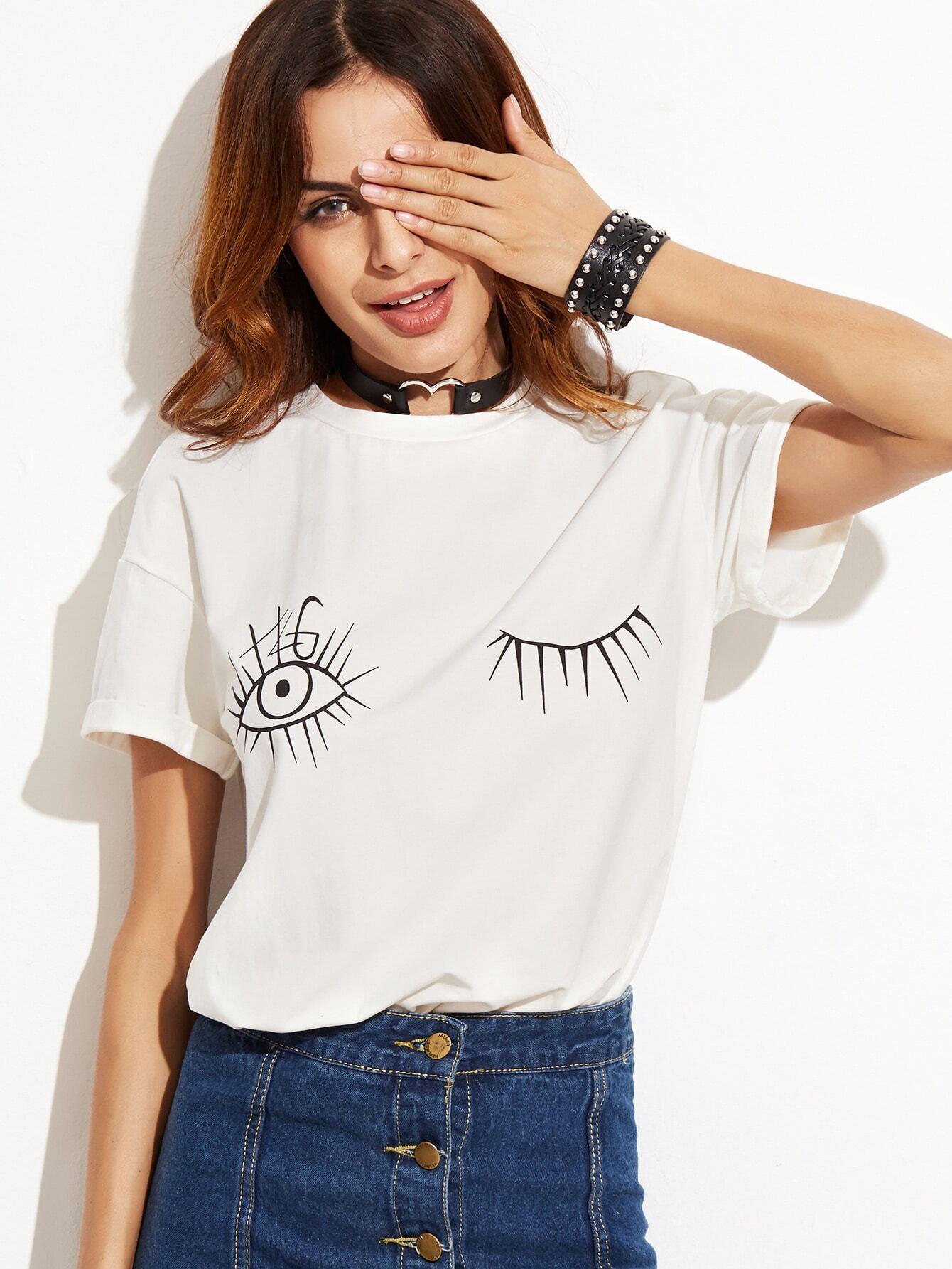 White Wink Eyes Print Drop Shoulder T-shirtWhite Wink Eyes Print Drop Shoulder T-shirt<br><br>color: White<br>size: L,M,S,XS