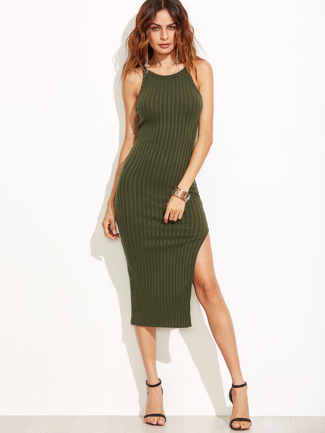 Olive Green Side Slit Ribbed Cami Dress dress160907701