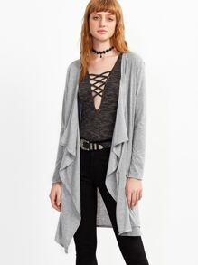 Grey Drape Front Coat