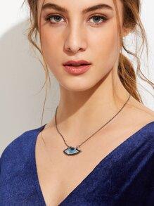 Silver Plated Rhinestone Eye Pendant Necklace