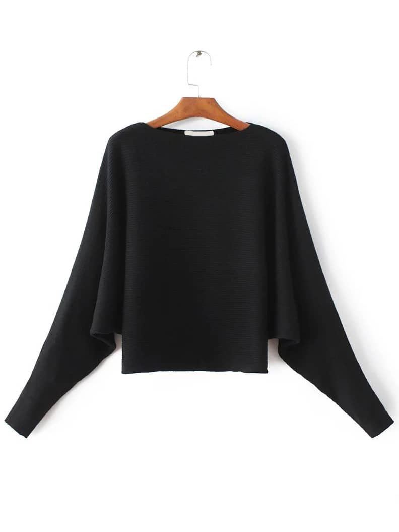 Black Boat neck Dolman Sleeve SweaterBlack Boat neck Dolman Sleeve Sweater<br><br>color: Black<br>size: one-size