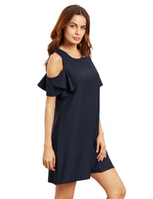 Open Shoulder Ruffle Sleeves Shift Dress