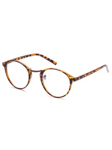 Brown Plastic Leopard Frame Round Glasses