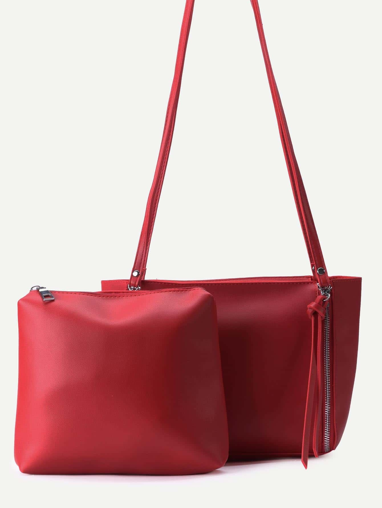 Red PU Zip Closure Shoulder Bag With Clutch Image