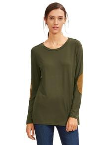 Armee-Grün-langes Hülsen-Ellenbogen-Flecken-T-Shirt